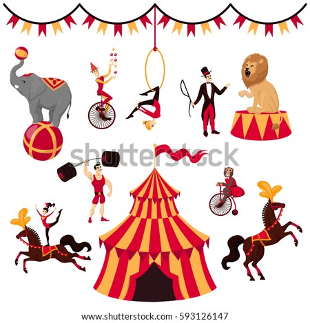 Circus elements set: tent, monkey on bike, air gymnastics, gymnast on horse, elephant on ball, lion with tamer, strongman, jugger and circus horse Circus set isolated on white, Circus elements