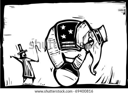 Circus elephant in stars and stripes balances on a ball .