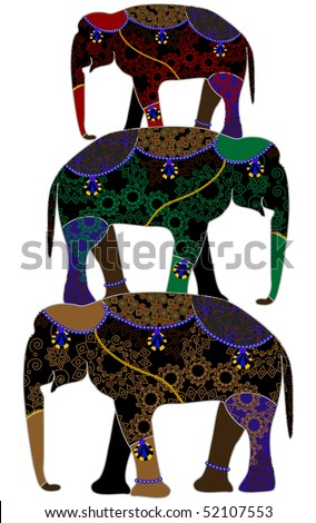 stock vector : circus elephants in the ethnic style on a white background