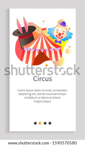 Circus entertainment vector, tent with entrance and clown with make up, top hat with bunny ears and tricks of magicians, recreation for kids. Website or app slider template, landing page flat style