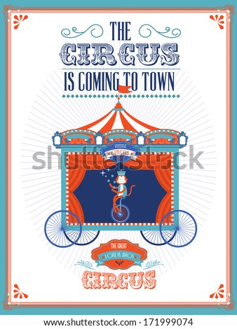 circus/fun fair/fairground/carnival wagon with performing juggling monkey on bicycle template vector/illustration
