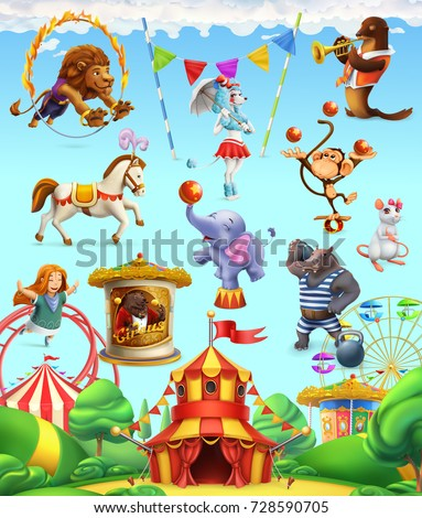 circus funny animals  set of