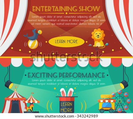 Circus horizontal banner set with entertaining show flat elements isolated vector illustration