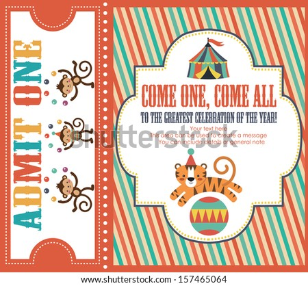 circus invitation card design vector illustration