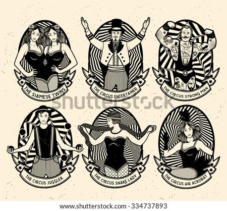 circus. monochrome icons...