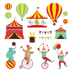 Circus Objects Flat Icons Set, Amusement Park, Carnival, Fun Fair festival