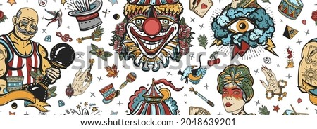 Circus. Old school tattoo seamless pattern. Clown, strong man with dumbbells, fortune teller woman, magic trick, rabbit in a magician hat. Traditional tattooing background