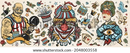 Circus. Old school tattoo vector collection. Clown, strong man with dumbbells, fortune teller woman, magic trick, rabbit in a magician hat. Traditional tattooing style