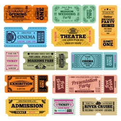 Circus, party and cinema vector vintage admission tickets templates. Collection of retro ticket to cinema, theater and river cruise illustration