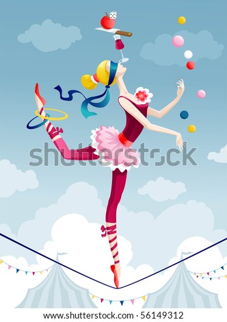 circus performer juggling with