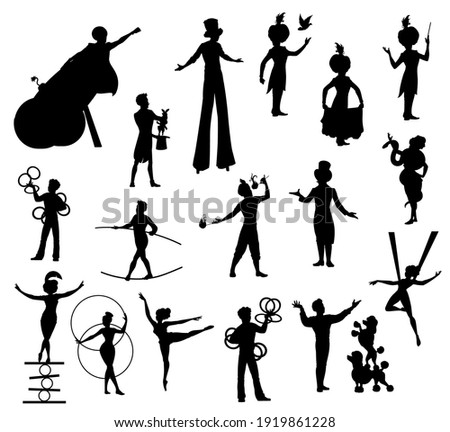 Circus performers black silhouettes, carnival top tent vector artists clown, acrobat and man cannon ball, trained dogs, juggler, magician and trapeze girl, woman with snake, balancer and tamer set Stockfoto ©
