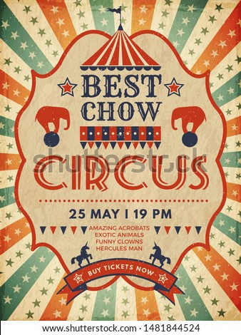Circus poster. Retro placard magic invitation for circus mascarade event show vector template