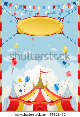 Circus poster with space for text - stock vector