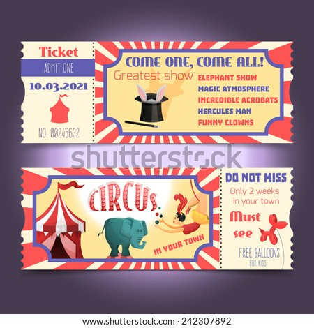 circus retro tickets with