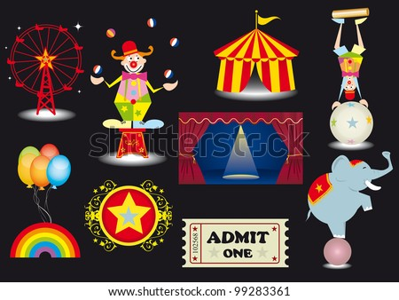 circus set. A circus set with various elements.(a clown,a tightrope Walker,a circus tent,a curtain,a ferris Wheel,an elephant....)