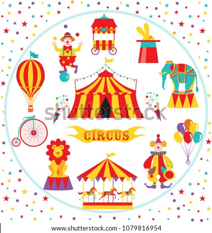 Circus set with tent, clowns, elephant, lion, balloons, bike and carousel. Vector illustration.