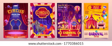 Circus show banners, big top tent carnival entertainment with elephant, phoenix on stage, ice cream booth and carousel. Invitation flyers, tickets to funfair amusement park, cartoon vector posters set ストックフォト ©