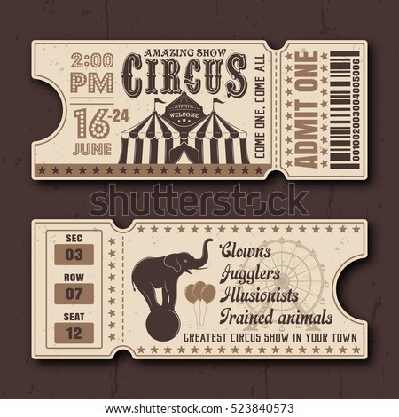 circus show horizontal tickets...
