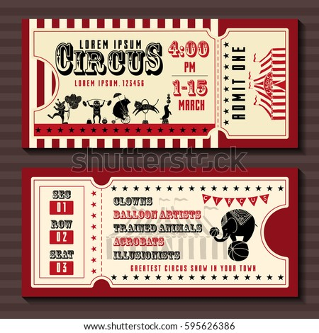 circus show horizontal tickets