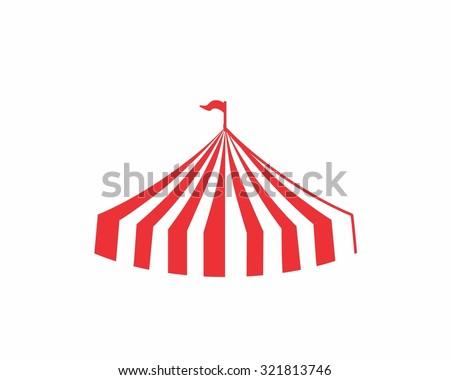 circus striped big top tent image icon