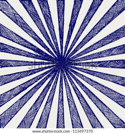 Circus Sunburst Background. Doodle style - stock vector