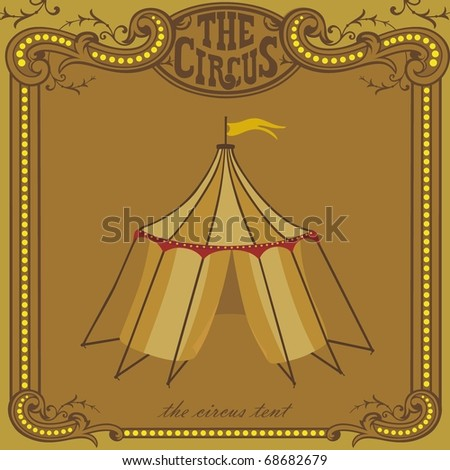Vector Clipart Funny Clown With Circus Tent Illustration
