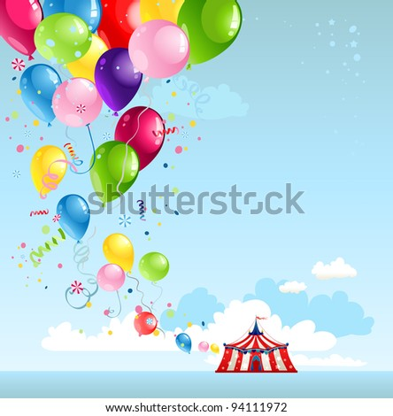 Circus tent and balloons with space for text - stock vector