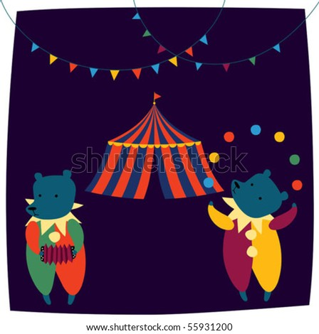 Circus Tent And Clown...