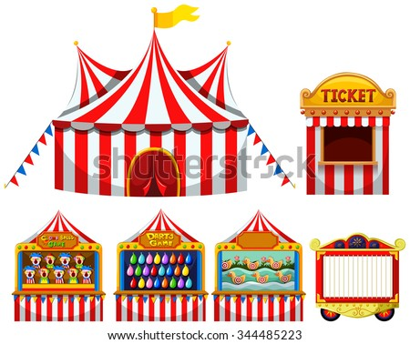 circus tent and game boothes...