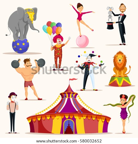 Circus tent and set of isolated icons for strong man holding barbell weights, lion and elephant on ball, meme artist and clown with balloons, woman on ball and magician with rabbit in hat, juggler