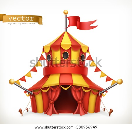 circus tent 3d vector icon