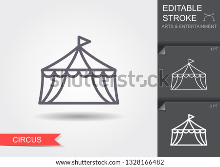 Circus tent. Line icon with editable stroke. Linear entertainment symbol