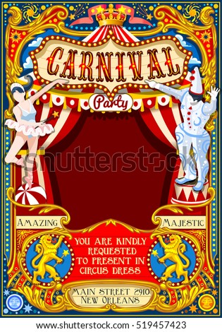 Circus tent people artist fairground show big top Template design. Poster Invite Kids Birthday Party. Carnival Cabaret Vintage vector background. Crazy Clown family amusement park theme illustration