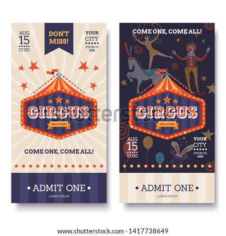 Circus ticket template in white and dark colors. Circus invitation banner in retro style. Colorful sign, tent and characters. Funfair poster. Vector illustration.