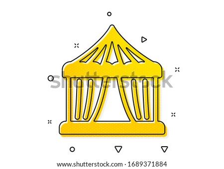 Circus tickets office sign. Amusement park tent icon. Yellow circles pattern. Classic circus tent icon. Geometric elements. Vector