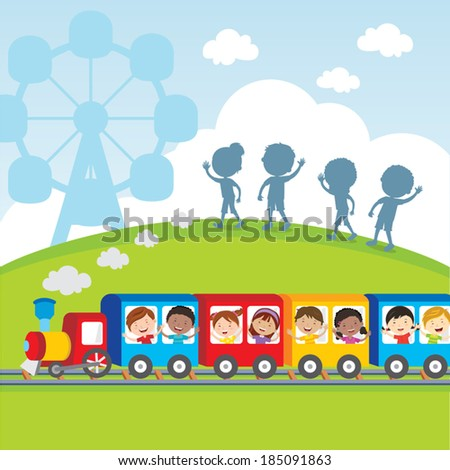 Circus train kids Vector illustration of diversity kids on circus train waving their hands