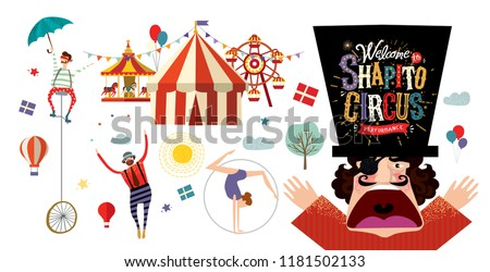 Circus! Vector illustration on a poster or banner for a circus show with acrobats, magicians and clowns, isolated objects and elements Welcome to the performance!