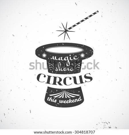 circus vintage badge  old black