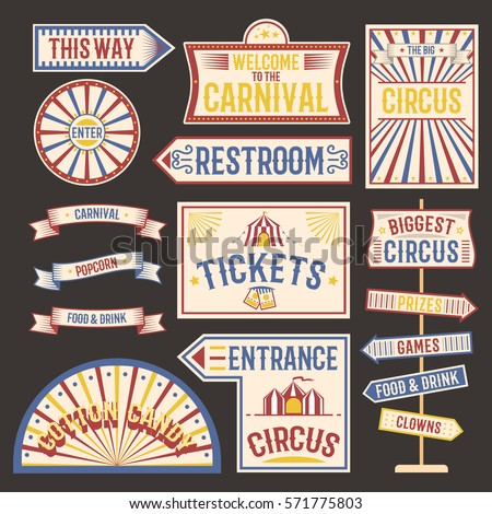 Circus vintage label banner vector illustration.
