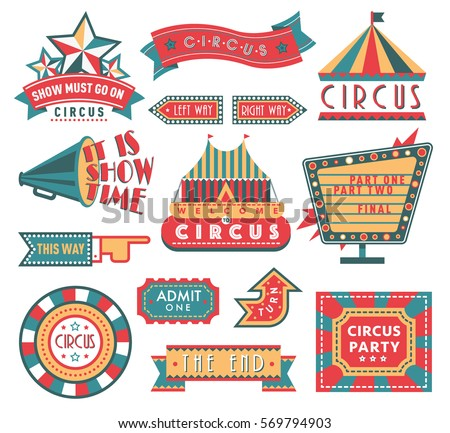 Circus vintage labels banner vector illustration isolated on white, circus tent and ad labels