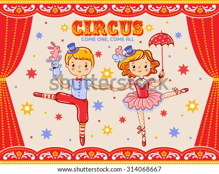 circus vintage poster with  two