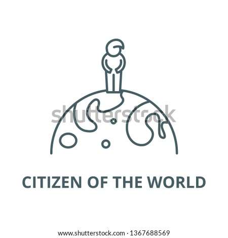 Citizen of the world line icon, vector. Citizen of the world outline sign, concept symbol, flat illustration