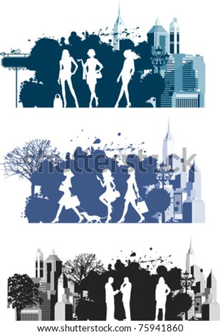 Citizens.  All elements and textures are individual objects. Vector illustration scale to any size.