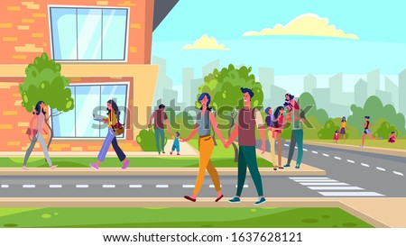 citizens walking in suburb area