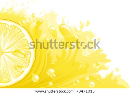 Citron freshness. Half of circle of lemon on background with lemon juice. Horizontal format