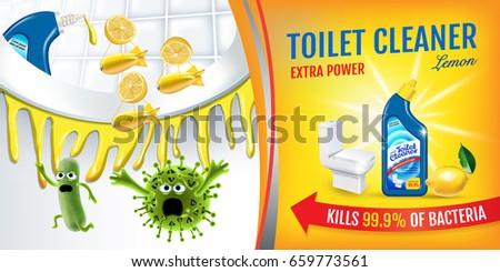 Citrus fragrance toilet cleaner ads. Cleaner bobs kill germs inside toilet bowl. Vector realistic illustration. Horizontal banner.