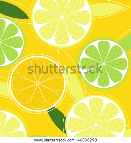 Citrus fruit background vector - Lemon, Lime and Orange. Citrus texture background with slices of lemon, lime and orange. Vector stylized background.