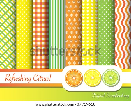 Citrus fruit  digital scrapbooking paper swatches in with ribbon and fruit slices. EPS10 vector format.