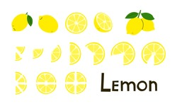 Citrus fruit. Lemons. Lemon whole and cut, half and slices. Vitamin C. Set of positive modern vector elements in yellow and green colors isolated on white. Clip art in flat cartoon style. Lettering