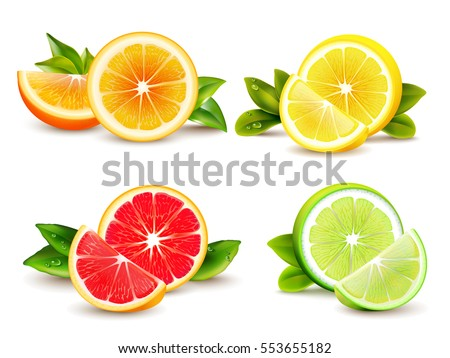 citrus fruits halves and